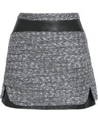 Diane Von Furstenberg Coletta Leather-trimmed Tweed Skirt - Lyst