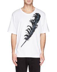 Alexander McQueen Single Feather Print T-Shirt - Lyst