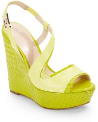Versace Quilted Patent Leather Wedge Sandals - Lyst