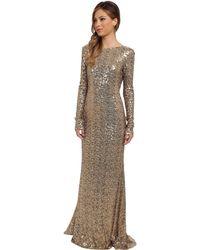 Badgley Mischka Cowl Back Sequin Gown - Lyst