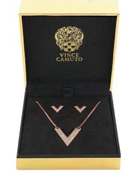 Vince Camuto - Rose Gold-Tone Crystal Pavé V Necklace And Earring Set - Lyst