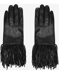 Exclusive For Intermix - Fringe Leather Gloves: Black - Lyst