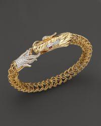 John Hardy Diamond Ruby  18k Yellow Gold Medium Naga Dragon Bracelet 86 Ct Tw - Lyst