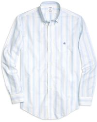 Brooks Brothers Non-Iron Regent Fit Chambray Stripe Sport Shirt - Lyst