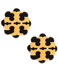 Tory Burch Resin Flower Logo Stud Earrings - Lyst