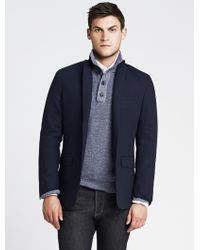 Banana Republic Tailored Textured Navy Blazer - Lyst