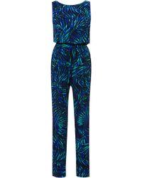 Piamita - Phoebe Tropical Stretch-Silk Jumpsuit - Lyst