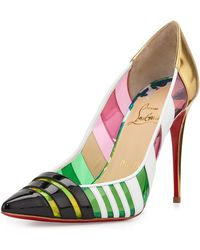 Christian Louboutin Bandy Multicolor Striped Red Sole Pump - Lyst