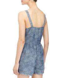 Dex - Tropical-print Denim Short Jumpsuit - Lyst