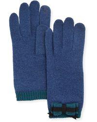 Portolano Cashmere-Blend Bow Tech Knit Gloves blue - Lyst