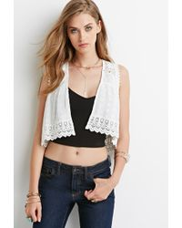 Forever 21 Embroidered Open-Front Vest - Lyst