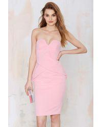 Nasty Gal In Between Days Strapless Dress pink - Lyst