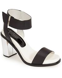 Topshop 'Reflect' Metallic Heel Leather Sandal black - Lyst