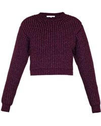 Carven Cropped Wool-Blend Sweater - Lyst