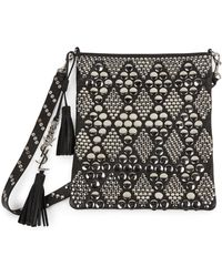 Saint Laurent Studded Leather Shoulder Bag black - Lyst