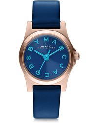 Marc By Marc Jacobs Henry Dinky Rose Goldtone Stainless Steel  Leather Strap Watch - Lyst