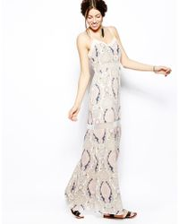 BCBGeneration Maxi Dress With Lace Insert - Lyst
