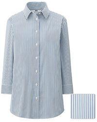 Uniqlo Supima Cotton Stretch Striped 3/4 Sleeve Shirt - Lyst