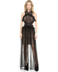 Vera Wang Collection Tiered Tulle Halter Gown  Black - Lyst
