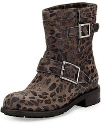 Jimmy Choo Youth Leopardprint Short Boot - Lyst