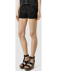 AllSaints Lilja Shorts black - Lyst