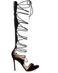 Gianvito Rossi - Gladiator Lace-Up Suede Sandals - Lyst