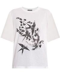 Alexander McQueen Swallow And Skull-Print Cotton T-Shirt - Lyst