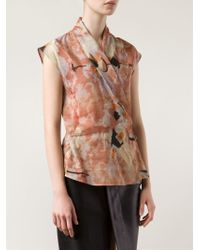 Ralph Rucci - Printed Cross Over Front Top - Lyst
