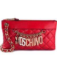 Moschino Red Quilted Clutch - Lyst