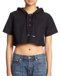 Marc By Marc Jacobs Stretch Poplin Cropped Hooded Top - Lyst