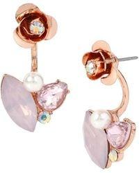 Betsey Johnson - Ballerina Rose Ear Jacket And Stud Earrings Set - Lyst