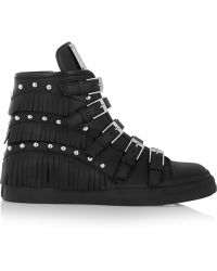 Giuseppe Zanotti Fringed Studded Leather Wedge Sneakers - Lyst