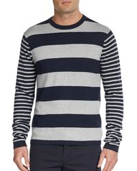 Michael Kors Striped Cotton  Cashmere Sweater - Lyst