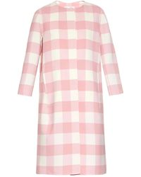 Oscar de la Renta Buffalo-Check Collarless Coat - Lyst