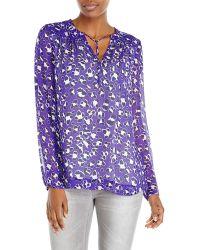 Diane von Furstenberg Purple Printed Silk Blouse - Lyst