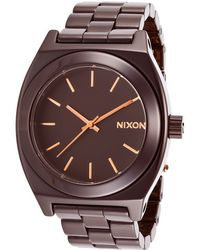 Nixon Womens Ceramic Time Teller Cherry Chocolate Ceramic Dark Brown Dial - Lyst