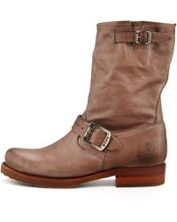 Frye Veronica Shortie Motorcycle Boot Gray - Lyst