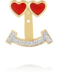 Alison Lou - Lovestruck 14-karat Gold, Enamel And Diamond Earring - Lyst