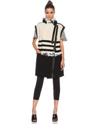 Chloé Striped Shearling Long Vest - Lyst