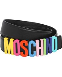 Moschino Multicolored Logo Lettering Leather Belt - Lyst