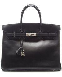 Hermès Preowned Black Box Calf Birkin 35 Bag - Lyst