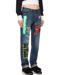 Marc By Marc Jacobs Blue Vinyl Graphics Annie Boyfriend Jeans - Lyst
