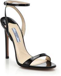 Prada Patent Leather Sandals - Lyst