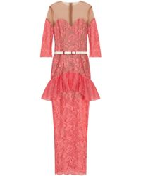 Alessandra Rich Lk12 Candy Pink Lace Gown - Lyst