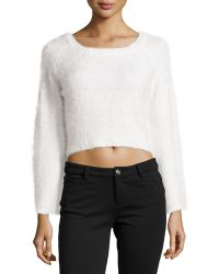 525 America Feathered Knit Crop Sweater - Lyst