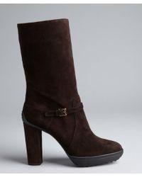 Tod's Dark Chocolate Suede Buckle Mid-Calf Platform Boots - Lyst