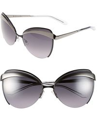 Dior Women'S 'Eyes 1' 60Mm Metal Butterfly Sunglasses - Shiny Black - Lyst