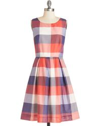 ModCloth Chalk Of The Town Dress in Plaid - Lyst