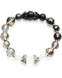 Anne Klein - Silver-Tone Jet Ombre Bead Stretch Bracelet - Lyst