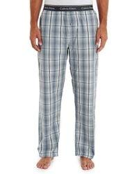 Calvin Klein Grey Plaid Print Woven Pyjama Pant - Lyst